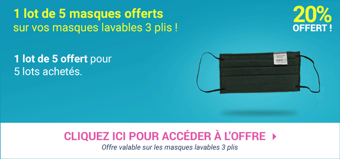 Promotion Masques Lavables 3 Plis