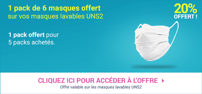 Promotion Masques Lavables UNS 2