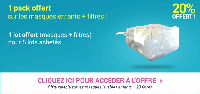 Promotion Masques enfants lavables + filtres