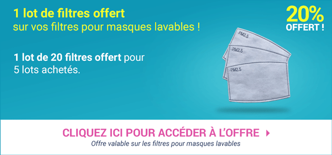 Promotion Filtres pour masques lavables